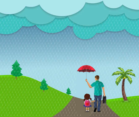 vector illustration concept protect the child from the rain by father.