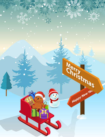 Merry Christmas Santa Claus and the snowman Taking a Photo on snow, Vector illustration.