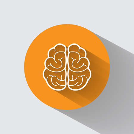 Brain vector icon with long shadow. Illustration isolated on orange background for graphic and web design.