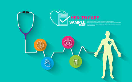 Health care, stethoscope, organ icon,anatomy, health monitoring, concepts set. Modern flat design concepts for web banners, web sites, printed materials, infographics. Creative vector illustration