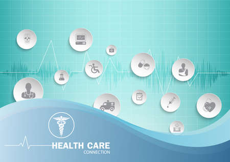 Medical background paper art with icons heart representing medical and healthcare topics in hand.