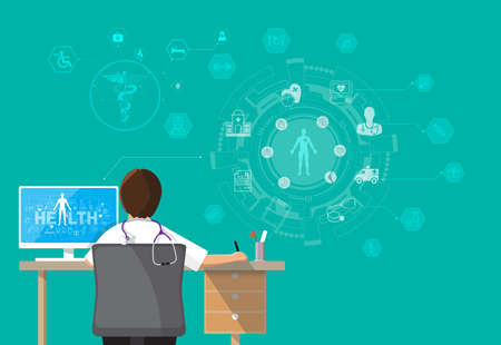 Infographics Health, concept Doctor sitting at office desk and working on his computer with medical equipment all around, back view Vector illustration Illustration