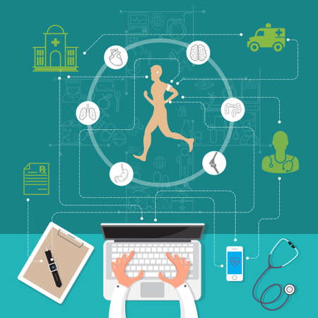 Vector illustration modern creative health infographics design on modern high tech devices using in run showing man tracking his health condition with watch, mobile application and computer services connection.