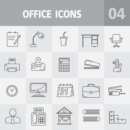 Simple office icons set. Universal office icon to use for web and mobile UI, set of basic office elements
