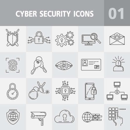 Protection and cyber security line icons vector illustrator,Thin monochrome icon set, black and white,Universal security icon to use for web and mobile UI,