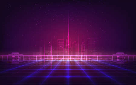Abstract background with purple neon grids city silhouette in vintage style.Can be used for workflow layout, diagram, web design, banner template. Vector illustration Illustration