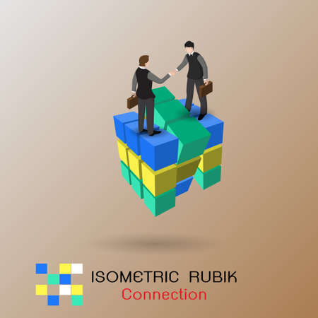 Business connection concept. Partnership. Vector illustration isometric design. Businessmen connecting handshake, isolated on rubik. Cooperation interaction.