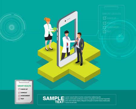 Illustration de conception 3d isométrique Smart Mobile Health - Suivez votre état de santé à travers des appareils
