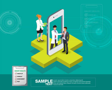 Isometric smart mobile health 3d design illustration - track your health condition through devices Çizim
