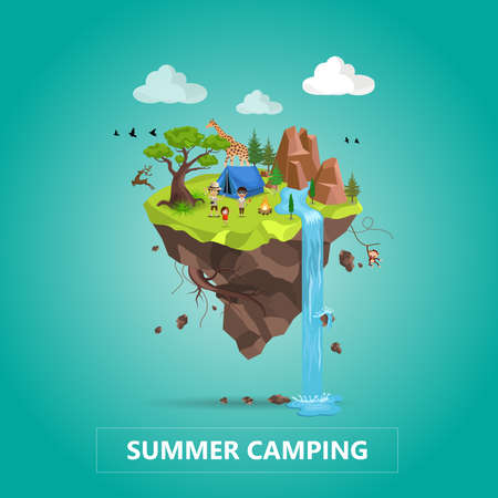 Family Travel and Tourism Concept. Natural Animal Landscape With Holiday Camp In Forest. Vector Isometric 3D Illustration.