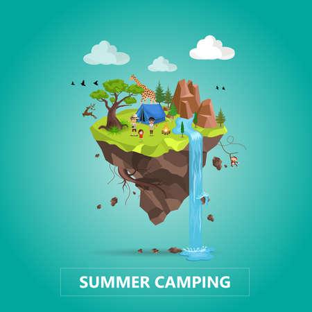 Concept de voyage et de tourisme en famille. Paysage animalier naturel avec camp de vacances en forêt. Illustration 3D isométrique de vecteur.