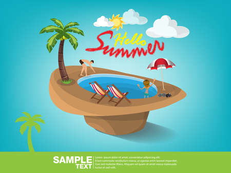 Summer beach vector banner design. Summer 3d text in the sand with colorful elements like person,coconut,umbrella,sunglasses,camera and beach chair in hat. Vector illustration.