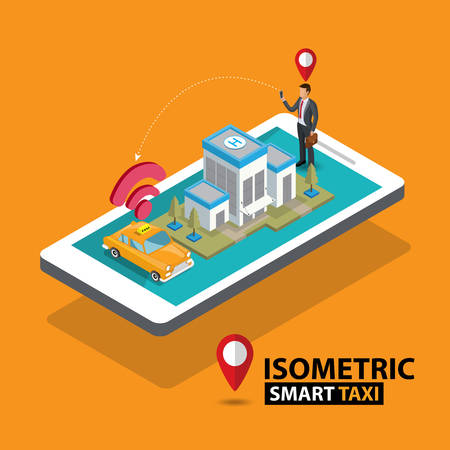 Smart taxi order service app concept. Isometric taxi yellow cab and GPS route point pins on smartphone and touchscreen vector illustration. Illustration
