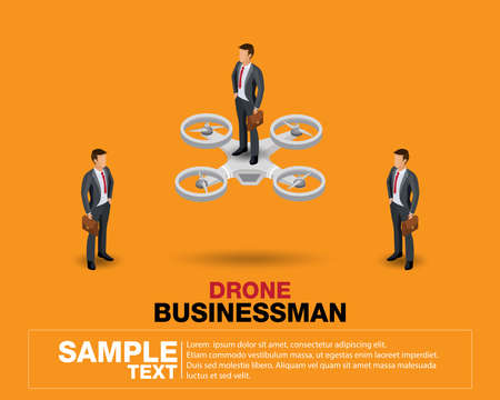 People Isometric 3D, isometric businessmen and business leader success. Concept standing on drone.