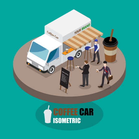 Isometric Street food car. Fast food delivery. Coffee car Flat design vector illustration Illustration