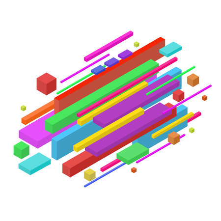 Isometric abstract colorful geometric background, can be used for wallpaper, template, poster, backdrop, book cover, brochure, leaflet, flyer, vector illustration