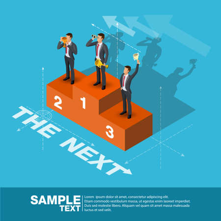 Future Business Leader Concept Finance Manager Business Man.Flat Isometric People Executive Manager Vector Investor trader Business future vision Individual success Illustration