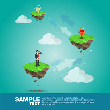 Isometric businessman standing in front of mountain and tree with trophy above, business obstacle concept, VECTOR, EPS10
