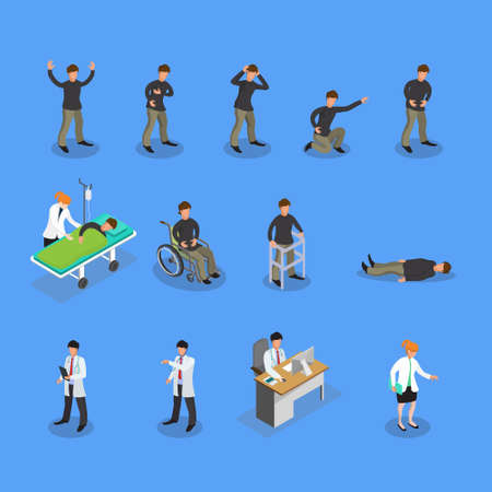 Communication and therapeutic doctor patient relationship in clinical medical practice isometric icons collection abstract isolated vector illustration