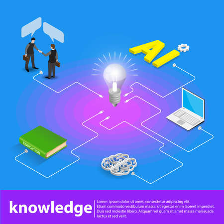 Isometric light up bright idea flat 3d  business brainstorming education knowledge startup concept web vector illustration.