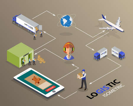 Global logistics network Flat 3d isometric vector illustration Set shipping On-time delivery Illustration