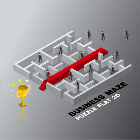 business leader success maze concept 3d isometric flat design vector illustration