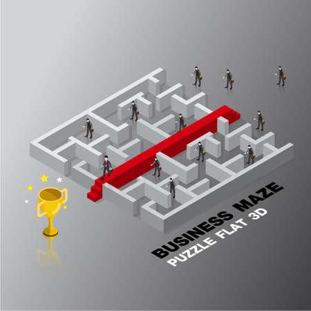 business leader success maze concept 3d isometric flat design vector illustration