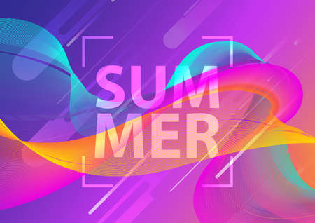 Futuristic music fest summer wave poster. Club party flyer. Abstract gradients waves technology background. Eps10 vector illustration.