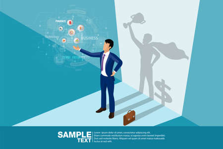 Isometric the Winner. Concept businessman his shadow is superhero and dollar symbol.Business vector illustration.