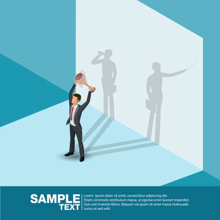 Isometric the Winner. Concept businessman his shadow is doing workvery hard.Business vector illustration.