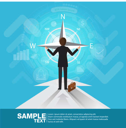 Future Business Leader Concept Finance Manager Business Man  Control compass .Flat Isometric Vector illustration. Illustration