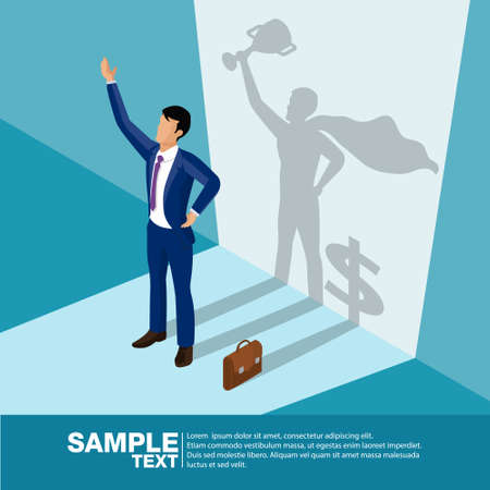 Isometric the Winner. Concept businessman his shadow is superhero and dollar symbol. Business vector illustration.