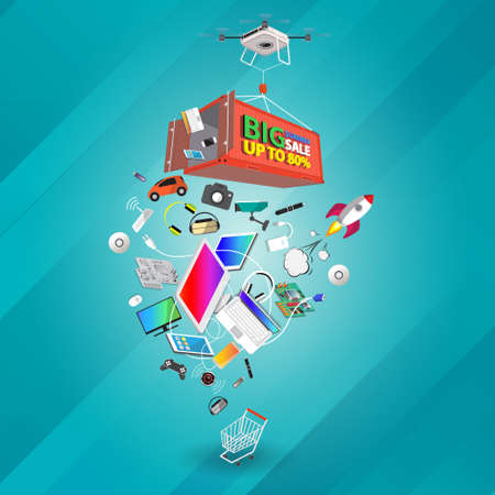 Isometric big summer sale computer appliances and technology banner design on drone vector illustration.