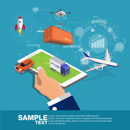 Global logistics network Flat 3d isometric tool app.  business concept web vector illustration. Businessmen hold the phone and show graphic secretary present. Creative people collection.