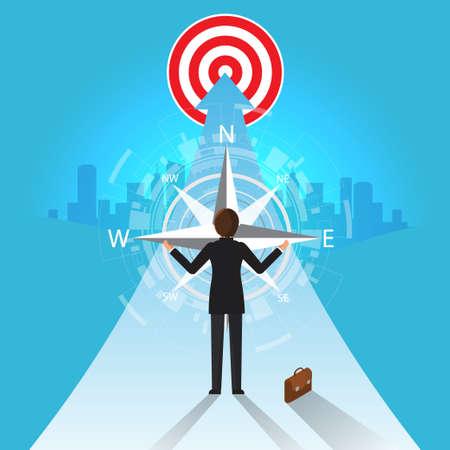 Future Business Leader Concept Finance Manager Business Man  Control compass .Flat Isometric Vector illustration. Illusztráció