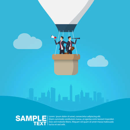 Future Business Leader Concept Finance Manager Business Man on hot air balloon  with clouds  Control compass .Flat Isometric Vector illustration. Illustration