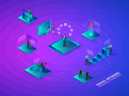 Isometric social network.concept futuristic business interacting with charts and analysing statistics. Data visualisation concept. 3d  vector illustration.