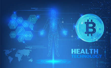 Abstract health technology web banner with golden bitcoin and dark blue background with circuits and wheel. Vector illustration. digital blueprint of human 3D body part of human, icons health vector illustration.