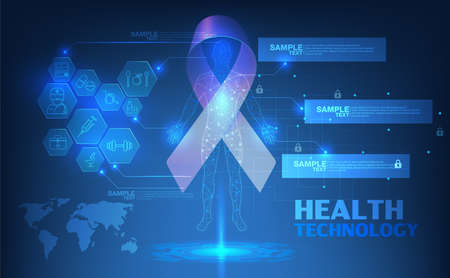 abstract technological health care Breast Cancer October Awareness Month Campaign scientific interface; futuristic backdrop; digital blueprint of human 3D body part of human, icons health vector illustration.