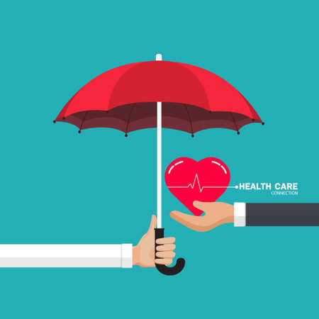 Health care connection concept. Protection health. Care medical.Doctor holding an umbrella, person protecting the heart. Vector illustration flat design style.