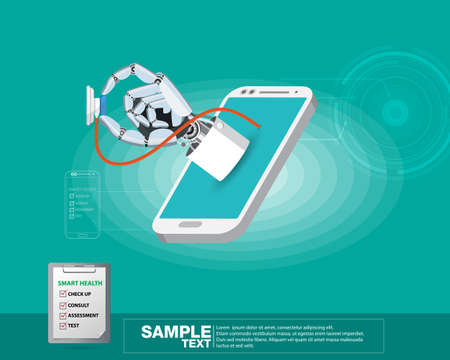 Isometric vector illustration, Concept hand doctor robot with stethoscope on mobile phone. Illustration