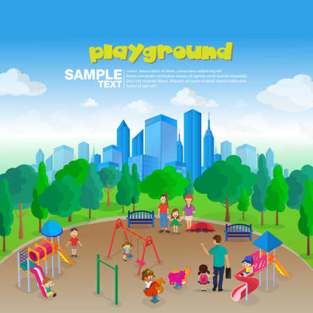 Isometric Park Playground Equipment set for Children Playing Stations vector illustration.