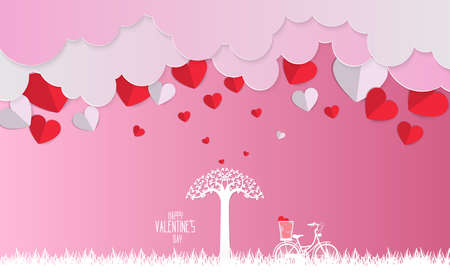 Valentine day , Concept two enamored beside the bicycle and tree with blue background,paper art and craft style.vector illustration. Illustration