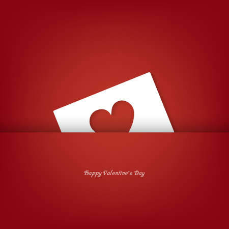 Heart from paper cut concept Valentines day card vector background.