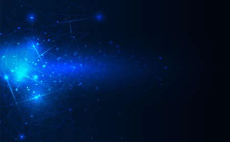 Concepto de fondo abstracto formas de patrón lineal y poligonal sobre fondo azul oscuro. Vectores Tecnología digital de diseño vectorial.
