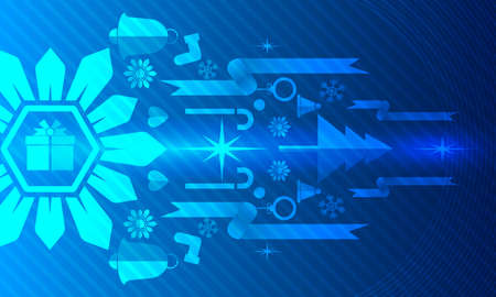 Merry Christmas, Vector illustration white gear and tree cog wheel gift on circuit board, Hi-tech digital technology and engineering, Abstract futuristic- technology on blue color background.
