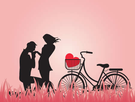 Concept of valentine day , two enamored beside the bicycle with pink background,paper art and craft style.