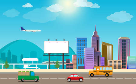 transportation and city traffic infographics element cartoon style. can be used for workflow layout, diagram, web design, banner template. Vector illustration Векторная Иллюстрация