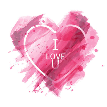 Vector abstract texture pink watercolor heart background. Lovely card,Valentine's day,Holiday card,Wedding card.