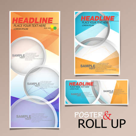 roll up and poster business brochure flyer banner design vertical template vector, cover presentation abstract geometric background, modern publication x-banner and flag-banner, layout in rectangle size.  イラスト・ベクター素材